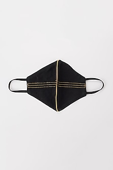 Black Protective Mask With Mustard Stripes by Nirmooha