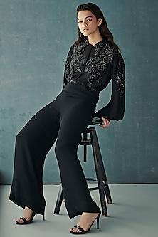 Black Embellished Shirt With Pants by Nirmooha