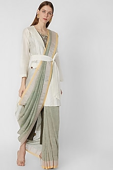 Pastel Green Embroidered Saree by Nirmooha By Prreeti Jaiin Nainutia