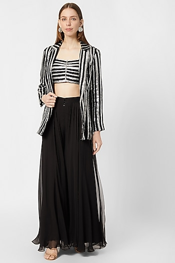 Black and Silver Embellished Crop Top With Skirt & Jacket by Nirmooha