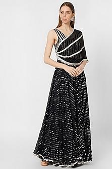 Black and Silver Embellished Gown by Nirmooha By Prreeti Jaiin Nainutia