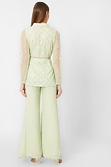 Sage Green Embellished Jacket & Pants With Belt by Nirmooha By Prreeti Jaiin Nainutia