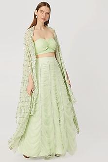 Green Lehenga Skirt With Bustier & Embellished Cape by Nirmooha By Prreeti Jaiin Nainutia