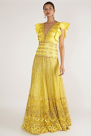 Lemon Yellow Embroidered gown by Nirmooha