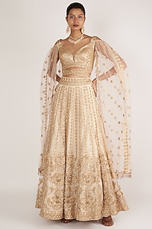 Beige Embroidered Ghaghra Set by Nirmooha