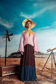 Multi Colored Printed Maxi Dress by Nirmooha-NIRMOOHA