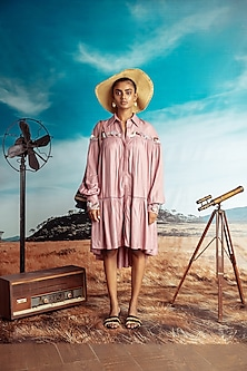 Dusty Pink Embroiered Dress With Belt by Nirmooha-NIRMOOHA