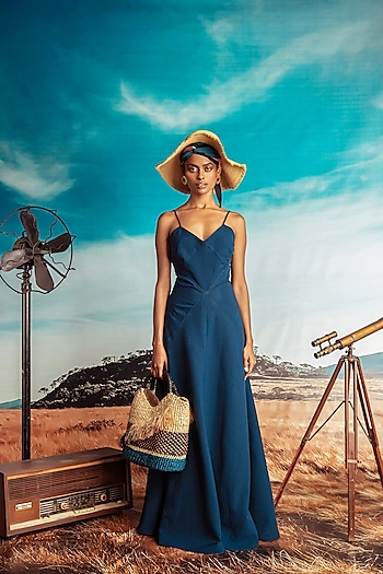 Teal Blue Textured Maxi Dress by Nirmooha