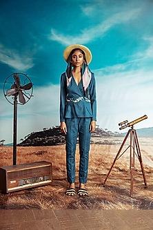 Teal Blue Printed Jacket Set by Nirmooha-NIRMOOHA