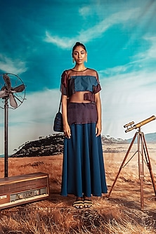 Multi Colored Patched Top With Flared Skirt by Nirmooha