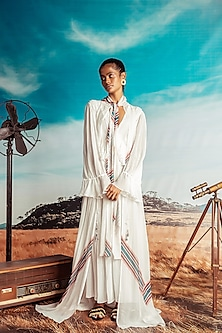 Off White Frilled Maxi Dress by Nirmooha