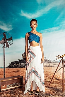 Midnight Blue One Shoulder Top With White Skirt by Nirmooha