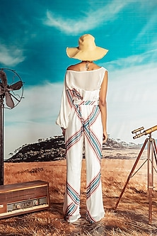 White Printed Top With Paper Bag Pants With Belt by Nirmooha