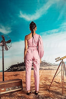 Dust Pink Embroidered Jumpsuit With Belt by Nirmooha