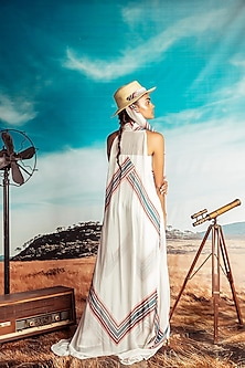 White Printed Jumpsuit With Cape by Nirmooha