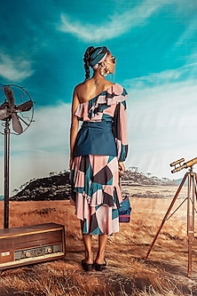 Multi Colored One Shoulder Printed Dress With Belt by Nirmooha
