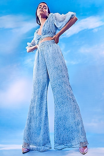Soft Blue Space-Dye Crop Top With Wide Leg Pants by Nirmooha