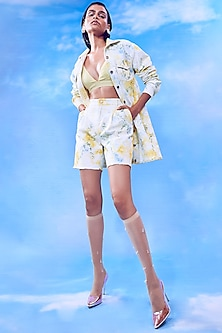 Yellow Embroidered Top With Denim Shorts & Jacket by Nirmooha