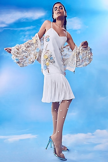 White Embroidered Bodycon Dress With Jacket by Nirmooha