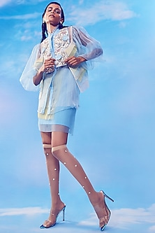 Soft Blue Embroidered Top With Jacket & Skirt by Nirmooha