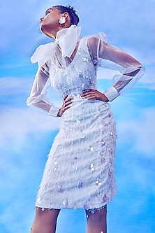 White A-Line Dress With Sheer Top by Nirmooha