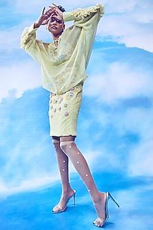Yellow Space Dyed Skirt Set by Nirmooha