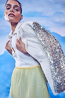 White Pleated Dress With Jacket by Nirmooha