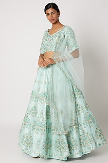 Sky Blue Embroidered Lehenga Set by Nadima Saqib