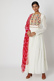 White Embroidered Anarkali With Dupatta by Nadima Saqib