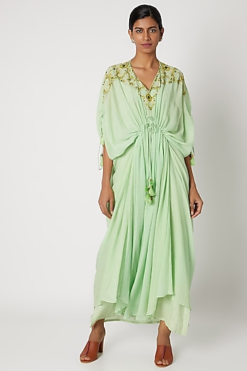 Mint Green Embroidered Kaftan by Nadima Saqib