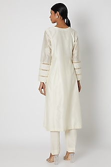 Beige Embroidered Kurta Set by Nadima Saqib