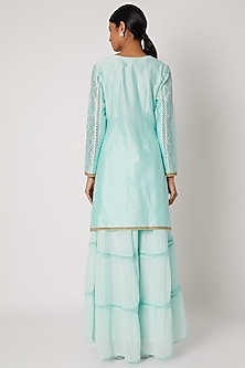 Sky Blue Embroidered Kurta Set by Nadima Saqib