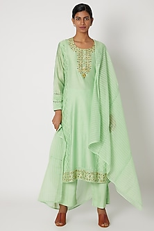 Mint Green Embroidered Kurta Set by Nadima Saqib