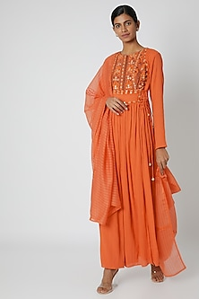 Orange Embroidered Anarkali With Dupatta by Nadima Saqib