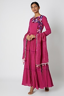 Fuchsia Embroidered Anarkali With Dupatta by Nadima Saqib