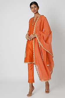 Orange Embroidered Kurta Set by Nadima Saqib