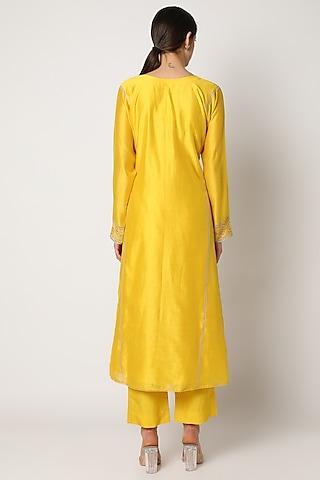 Yellow Embroidered Anarkali Set by Nadima Saqib