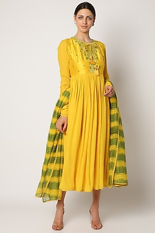 Yellow Mirror Embroidered Anarkali Set by Nadima Saqib