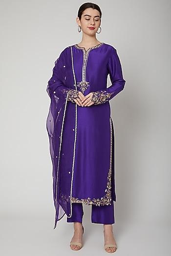 Purple Embroidered Kurta Set by Nadima Saqib