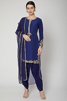 Cobalt Blue Embroidered Kurta Set by Nadima Saqib