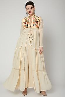 Beige Dori Embroidered Jacket by Nadima Saqib