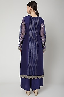 Cobalt Blue Sequins Embroidered Kurta Set by Nadima Saqib
