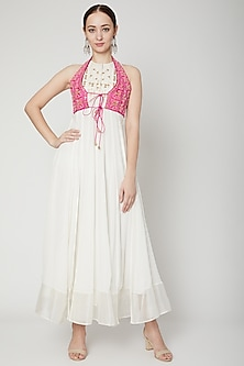 White Cotton Silk Dress by Nadima Saqib