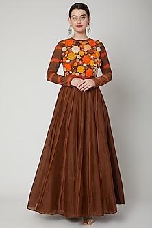 Brown Skirt With Crochet Edging by Nadima Saqib