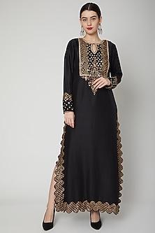 Black Sequins Embroidered Kurta by Nadima Saqib