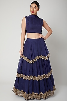 Cobalt Blue Embroidered Lehenga Set by Nadima Saqib
