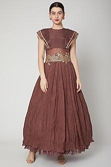 Brown Resham & Zardosi Embroidered Gown by Nadima Saqib