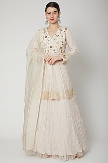 Nude Embroidered Lehenga Set by Nadima Saqib