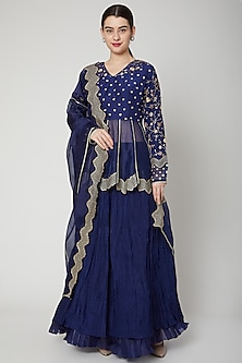 Cobalt Blue Zardosi Embroidered Lehenga Set by Nadima Saqib