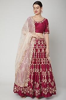 Fuchsia Embroidered Lehenga Set by Nadima Saqib